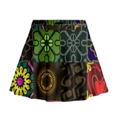 Digitally Created Abstract Patchwork Collage Pattern Mini Flare Skirt