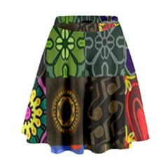 Digitally Created Abstract Patchwork Collage Pattern High Waist Skirt