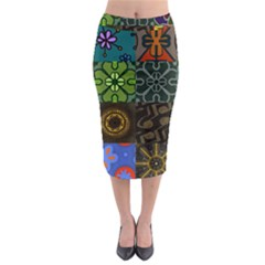 Digitally Created Abstract Patchwork Collage Pattern Midi Pencil Skirt
