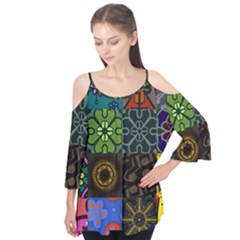 Digitally Created Abstract Patchwork Collage Pattern Flutter Tees