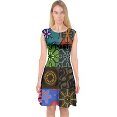 Digitally Created Abstract Patchwork Collage Pattern Capsleeve Midi Dress