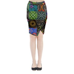 Digitally Created Abstract Patchwork Collage Pattern Midi Wrap Pencil Skirt