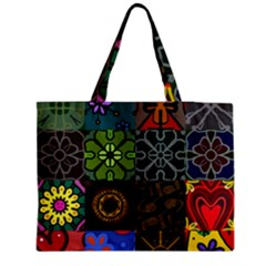 Digitally Created Abstract Patchwork Collage Pattern Medium Tote Bag