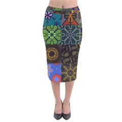 Digitally Created Abstract Patchwork Collage Pattern Velvet Midi Pencil Skirt