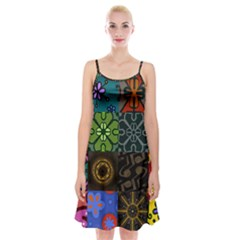 Digitally Created Abstract Patchwork Collage Pattern Spaghetti Strap Velvet Dress