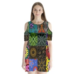 Digitally Created Abstract Patchwork Collage Pattern Shoulder Cutout Velvet  One Piece