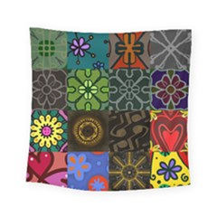 Digitally Created Abstract Patchwork Collage Pattern Square Tapestry (small)