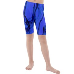 Blue Velvet Ribbon Background Kids  Mid Length Swim Shorts