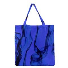 Blue Velvet Ribbon Background Grocery Tote Bag