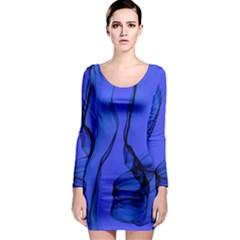 Blue Velvet Ribbon Background Long Sleeve Bodycon Dress