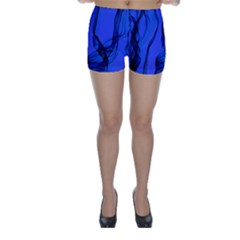 Blue Velvet Ribbon Background Skinny Shorts