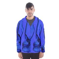 Blue Velvet Ribbon Background Hooded Wind Breaker (Men)