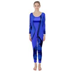 Blue Velvet Ribbon Background Long Sleeve Catsuit