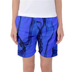 Blue Velvet Ribbon Background Women s Basketball Shorts
