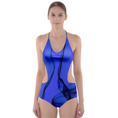 Blue Velvet Ribbon Background Cut-Out One Piece Swimsuit