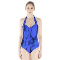 Blue Velvet Ribbon Background Halter Swimsuit