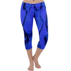 Blue Velvet Ribbon Background Capri Yoga Leggings