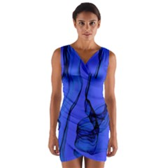 Blue Velvet Ribbon Background Wrap Front Bodycon Dress