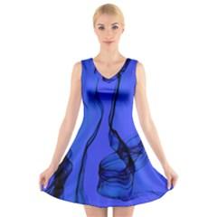Blue Velvet Ribbon Background V-Neck Sleeveless Skater Dress