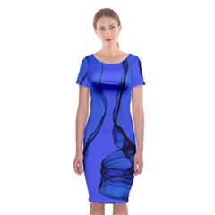 Blue Velvet Ribbon Background Classic Short Sleeve Midi Dress