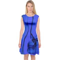 Blue Velvet Ribbon Background Capsleeve Midi Dress