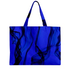 Blue Velvet Ribbon Background Medium Zipper Tote Bag