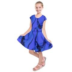 Blue Velvet Ribbon Background Kids  Short Sleeve Dress