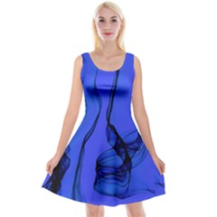 Blue Velvet Ribbon Background Reversible Velvet Sleeveless Dress
