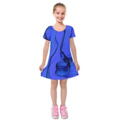 Blue Velvet Ribbon Background Kids  Short Sleeve Velvet Dress