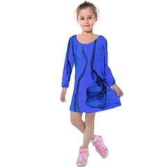 Blue Velvet Ribbon Background Kids  Long Sleeve Velvet Dress