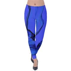 Blue Velvet Ribbon Background Velvet Leggings