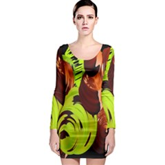 Neutral Abstract Picture Sweet Shit Confectioner Long Sleeve Bodycon Dress