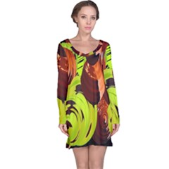 Neutral Abstract Picture Sweet Shit Confectioner Long Sleeve Nightdress