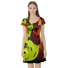 Neutral Abstract Picture Sweet Shit Confectioner Short Sleeve Skater Dress
