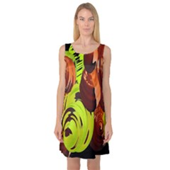 Neutral Abstract Picture Sweet Shit Confectioner Sleeveless Satin Nightdress