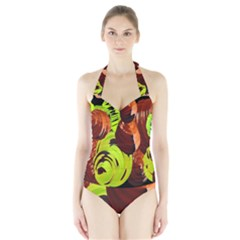 Neutral Abstract Picture Sweet Shit Confectioner Halter Swimsuit