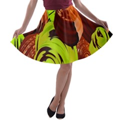 Neutral Abstract Picture Sweet Shit Confectioner A-line Skater Skirt