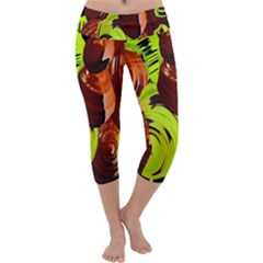 Neutral Abstract Picture Sweet Shit Confectioner Capri Yoga Leggings