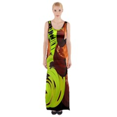 Neutral Abstract Picture Sweet Shit Confectioner Maxi Thigh Split Dress