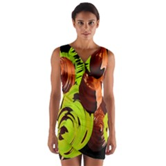 Neutral Abstract Picture Sweet Shit Confectioner Wrap Front Bodycon Dress
