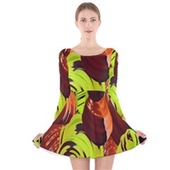 Neutral Abstract Picture Sweet Shit Confectioner Long Sleeve Velvet Skater Dress