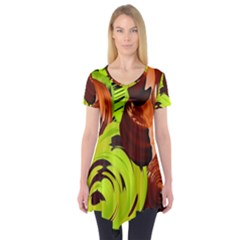 Neutral Abstract Picture Sweet Shit Confectioner Short Sleeve Tunic