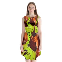 Neutral Abstract Picture Sweet Shit Confectioner Sleeveless Chiffon Dress