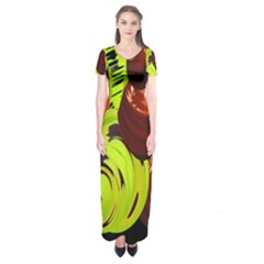 Neutral Abstract Picture Sweet Shit Confectioner Short Sleeve Maxi Dress