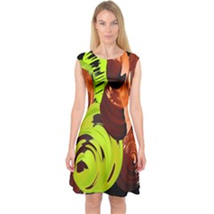 Neutral Abstract Picture Sweet Shit Confectioner Capsleeve Midi Dress