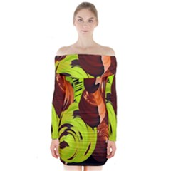 Neutral Abstract Picture Sweet Shit Confectioner Long Sleeve Off Shoulder Dress