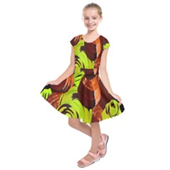 Neutral Abstract Picture Sweet Shit Confectioner Kids  Short Sleeve Dress