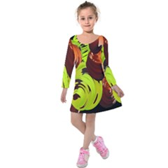 Neutral Abstract Picture Sweet Shit Confectioner Kids  Long Sleeve Velvet Dress
