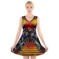 Diamond Manufacture V Neck Sleeveless Skater Dress