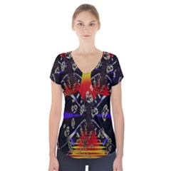 Diamond Manufacture Short Sleeve Front Detail Top